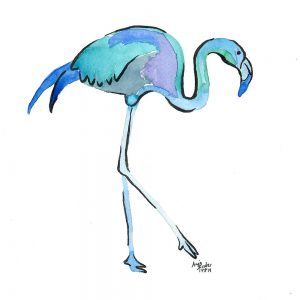 Aquarell - blauer Flamingo