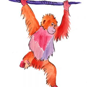 Aquarell - orange/lila Orang-Utan
